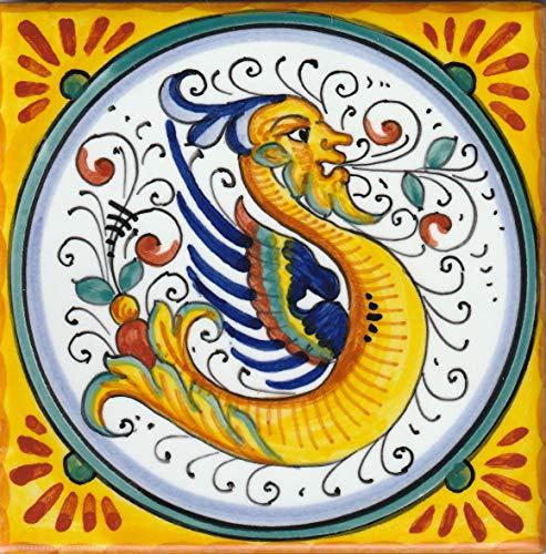 Raffaellesco Italian Ceramic - Italian Ceramic Tile - Raffaellesco - Made in Deruta (4x4 inch)