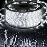 """WYZworks 150' feet Cool White 3/8"""" LED Rope Lights - Crystal Clear PVC Tube IP65 Water Resistant Flexible 2 Wire Accent Holiday Christmas Party Decoration Lighting"""