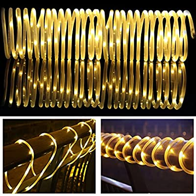 LTE Solar RGB Rope Lights, 33ft 100 LED ,Outdoor Waterproof Solar Rope Lights , Ideal for Decorations,Christmas,Gardens, Lawn, Patio, Weddings, Parties