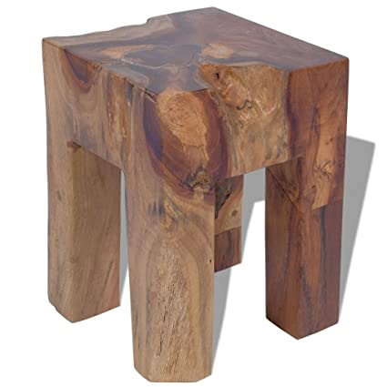 Amazon.com: vidaXL Solid Teak Wood Stool Chair Side Accent Table ...
