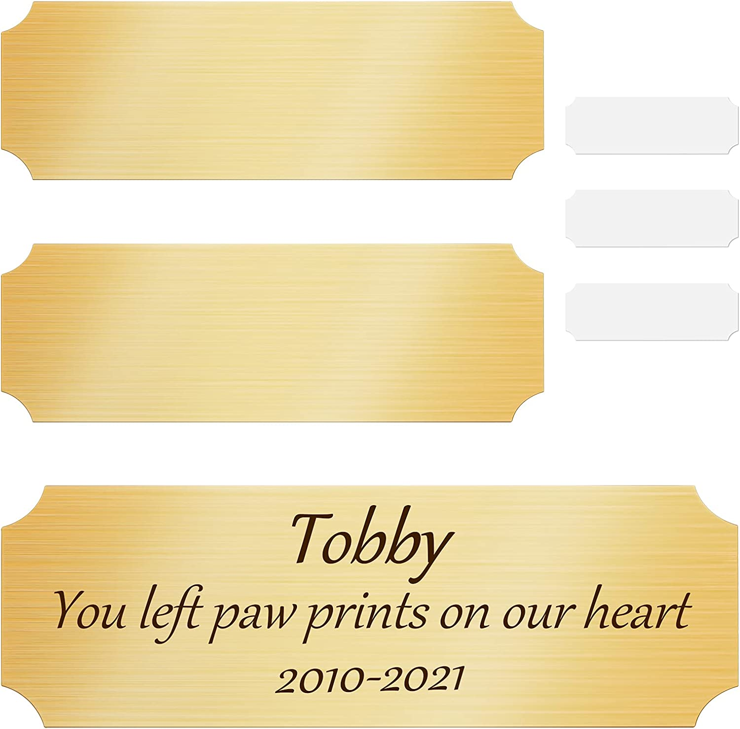 3 Pieces Sublimation Personalized Name Plates DIY Brush Gold Aluminium Picture Frame Name Plate Art Picture Name Label Tag with Double-Sided Stickers for Indoor Use, 3 x 1 Inch