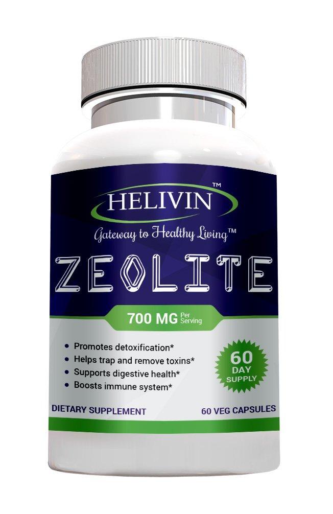 Helivin Zeolite Supplement for Detoxification - 700 MG per Serving - No Fillers - 60 Veg Capsules – 60 Day Supply