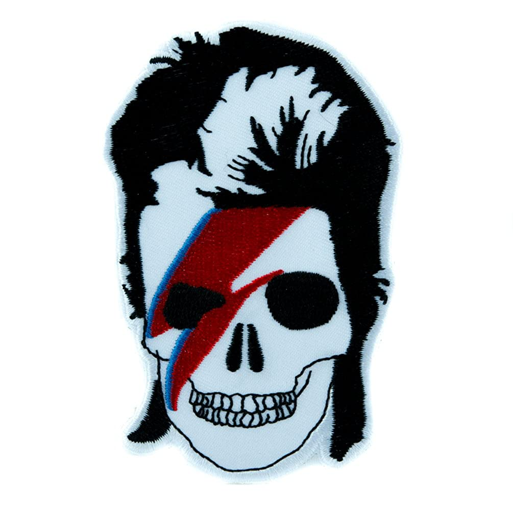 Lightning Bolt David Bowie Skull Patch Iron on Applique Gothic Clothing Glam