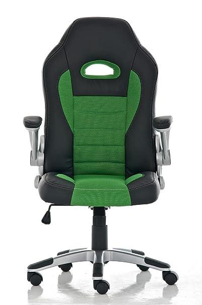 CLP Silla de oficina JOHN. Silla Gaming con reposabrazos abatibles, altura regulable entre 46-55 cm, asiento y respaldo en piel sintética y tejido, ...