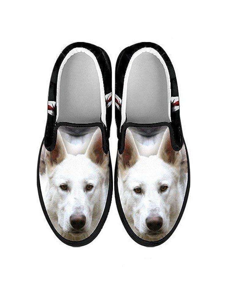 Pawlice White Shepherd Dog Print Slip ONS Black for White Shepherd Dog Lovers Shoes for Kids