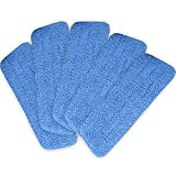 COSTWAY 5-Pack Microfiber Dry/Wet Mop Pads Home/Commercial Cleaning Refills Mop Head For 15'' Flat Mop Base Blue
