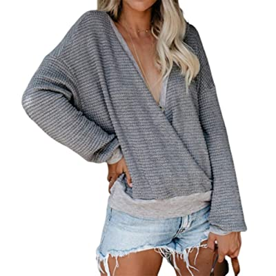Women's Sexy Wrap Sweater Casual Long Sleeve V Neck Waffle Knit Pullover Jumper Sweater at Women's Clothing store