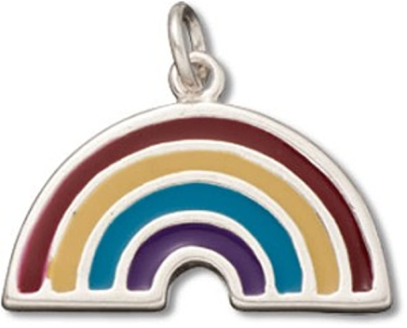 Sterling Silver Girls .8mm Box Chain Enameled Colorful Rainbow Pendant Necklace