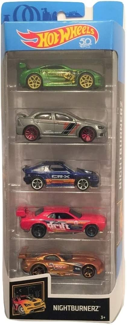 Hot Wheels 2018 50th Anniversary Nightburnerz 1:64 Scale 5-Pack