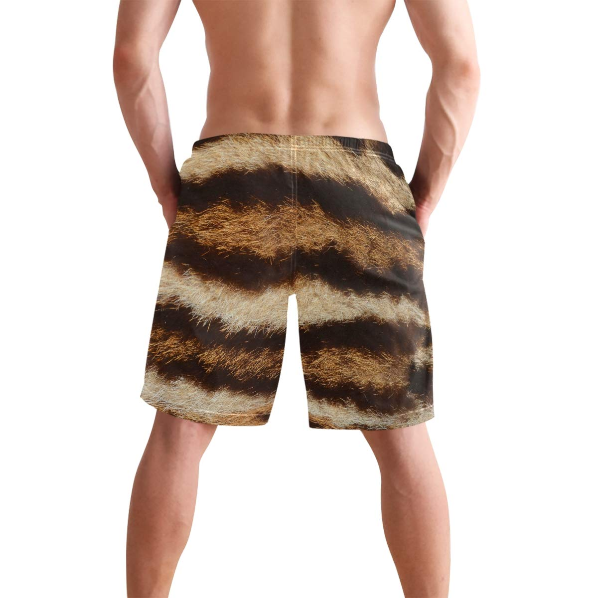 MALPLENA Animal Skin Picture Mens Beach Shorts Board Shorts Mesh Lining