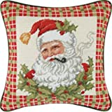 14'' Needlepoint Pillow - Santa In Holly