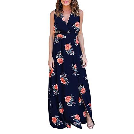 dc6bf394e1f LMMVP Longue robe en mousseline à imprimé fleuri pour femme avec col ...