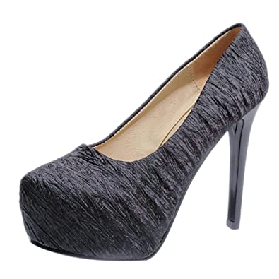 48d6a87ba8b UOKNICE Woman Pumps Ankle Wedding Party Shoes Platform Sexy Extremely Sky  High Heels Stilettos(Black