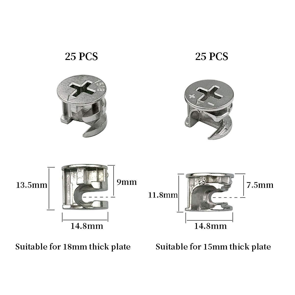 Furniture Connecting Cam Fittings 50Pcs Furniture Connector Fastener Cam Lock Nut
