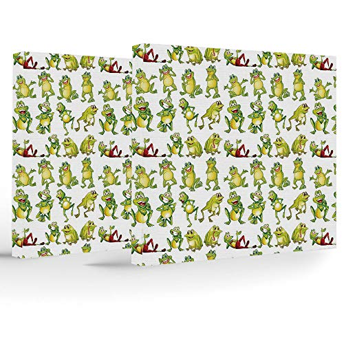 Canvas Art Prints,Canvas Art with Frame,Nursery,Stretched and Framed Canvas Print,Frogs in Different Positions Funny Happy Cute Expressions Faces Toads Cartoon