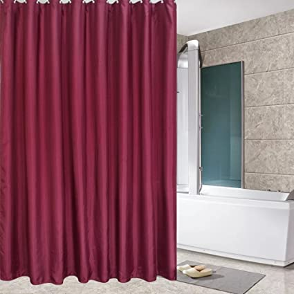 Amazon.com: Eforcurtain Small Size 36 By 72 Inch Solid Red Bathroom ...