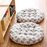 TMJJ Cotton & Linen Round Floor Pillow Cushion Japanese Style Futon Seat Cushion Thicken Chair Wave Window Pad 21'' x 21'',Set of 2