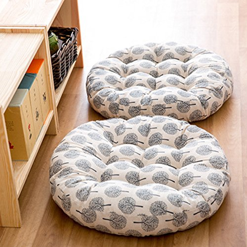 TMJJ Cotton & Linen Round Floor Pillow Cushion Japanese Style Futon Seat Cushion Thicken Chair Wave Window Pad 21'' x 21'',Set of 2 by TMJJ Home