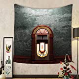 Gzhihine Custom tapestry Jukebox Tapestry Scary Movie Theme Old Abandoned Home with Antique Old Music Box Image for Bedroom Living Room Dorm 60 W X 40 L Petrol Green and Brown