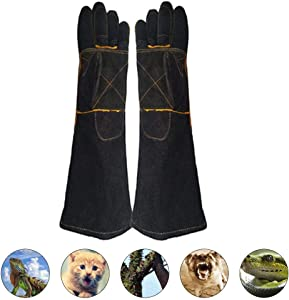 Animal Handling Gloves Scratch/Bite Resistant Gloves Gauntlet for Dog Cat Bird Snake Reptile Grooming, Leather Work Gloves Kevlar Stitching, Perfect for BBQ,Welding, Animal Handling Gloves Bite Proof