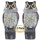 JYWH Owl Decoy Rotating Head Scarecrow farm / Garden Defense Owl Yard Protector Bird Pest Repellent Against Mice, Rat, Pigeon Pest Control