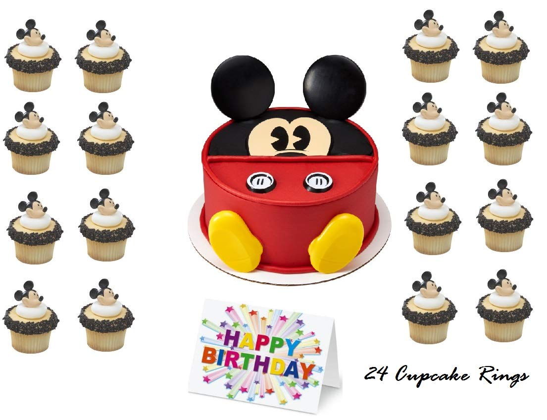 Mickey Mouse Clubhouse Face Cake Topper Set Cupcake 24 Pieces plus Birthday Card