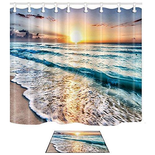 NYMB Ocean Shower Curtain, Sand Beach Wave Sea Water Pattern Set, 69X70in Waterproof Polyester Fabric Bathroom Curtain Set with 15.7x23.6in Flannel Non-Slip Floor Doormat Bath Rugs (Beach Bath Rugs Set)