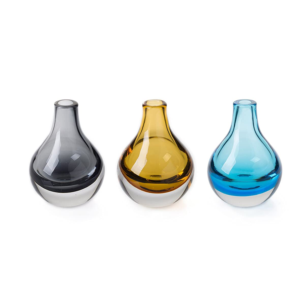 CASAMOTION Home Decor Accent Vase Hand Blown Art Solid Color Glass Bud Vase, Blue, Amber, Smoke