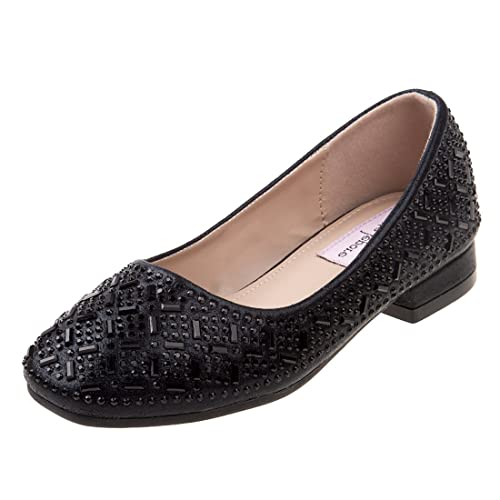 71390b51182 Nanette Lepore Girls Low Heel Rhinestone Dress Shoes