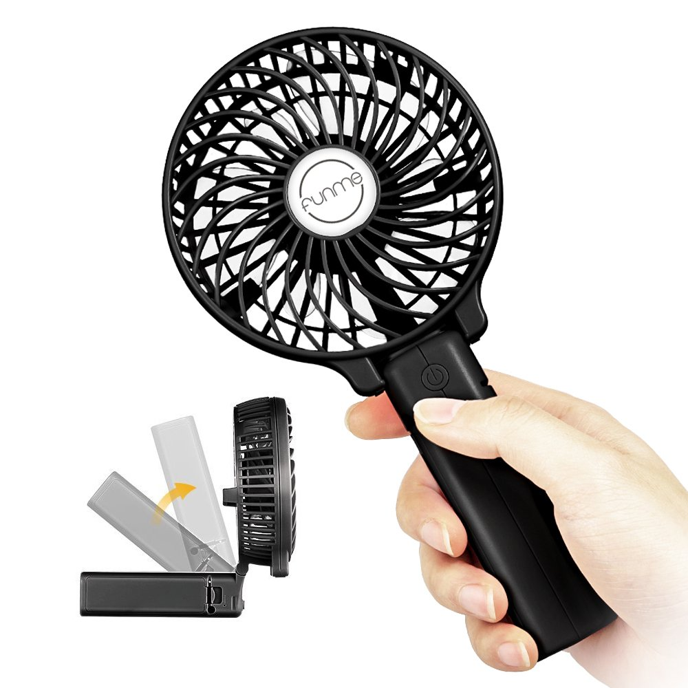 Funme Mini Handheld Fan Portable Foldable USB Rechargeable LG 2600mAh Battery Operated Electric Fan Personal Desktop Cooling Fan with 3 Speed for Office/Home/Travel/Outdoor-Black