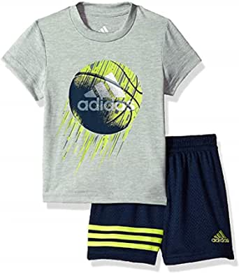 adidas Toddler Boys 2pc Short Sleeve Athletic T Shirt and Shorts Set