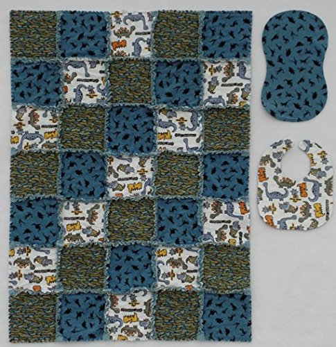 Little Dinosaur Print with Coordinator Prints in Blue and Gray Baby Rag Quilt with Matching Burp Cloth and Bib