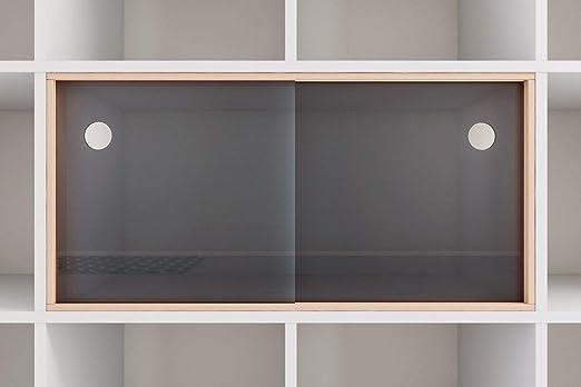 Superelch Puerta corredera para estantería Kallax de IKEA, Puertas de Cristal acrílico, Vitrina de Cristal, Carril con Marco de Madera para Libros: Amazon.es: Hogar
