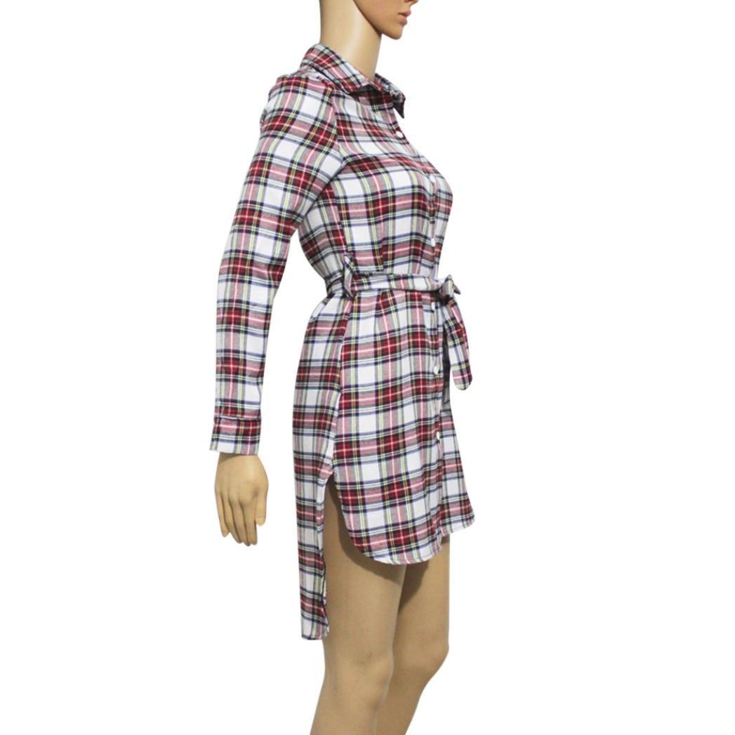 Vestidos de invierno, Dragon868 Vestido de camisa a cuadros de manga larga para mujer: Amazon.es: Ropa y accesorios
