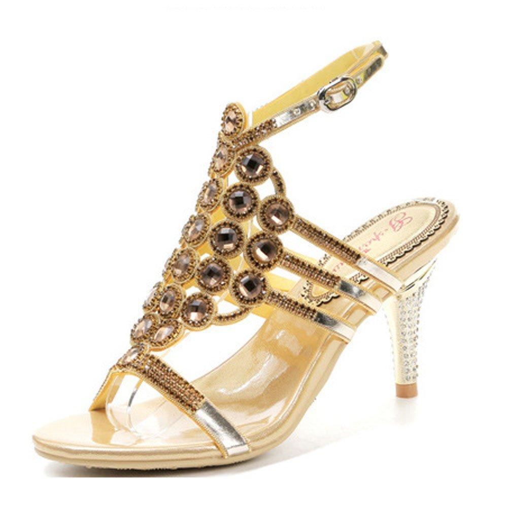 New Damen Sommer Sexy Hochhackige Schuhe mit mit Runder Kopf Durchbrochen Strass Schnalle mit mit Offene Sandalen, Golden, US5/EU35/UK3/CN34- 42edcf