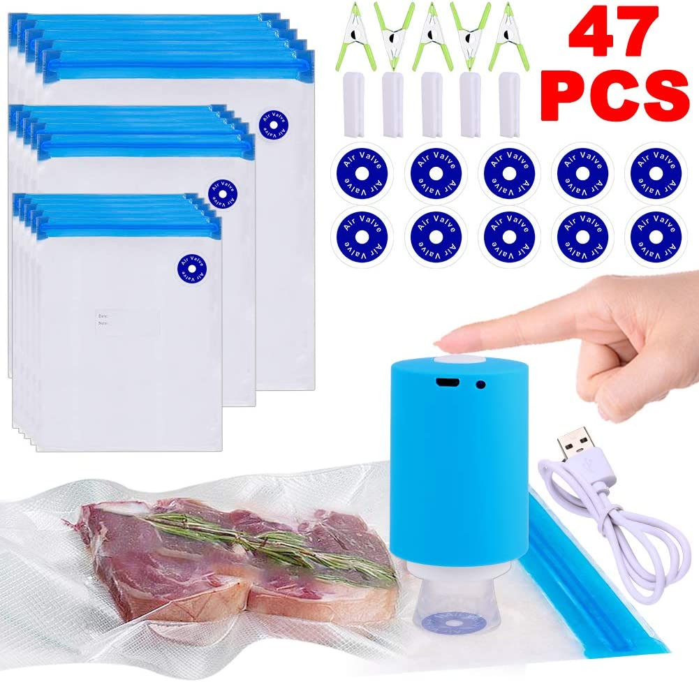 Sous Vide Bags, 47 PCS Electric Vacuum Sealer & Reusable Vacuum Food Storage Bags for Anova, Joule Cookers -35 PCS Reusable Vacuum Sealer Bags,5 Clips & 5 Sealing Clips,Rechargeable Vacuum Sealer Set
