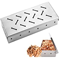 Averfeel Smoker Box for BBQ Grill Wood Chips, Stainless Steel Thick Barbecue Meat Smoking Grilling Accessories Smoky…