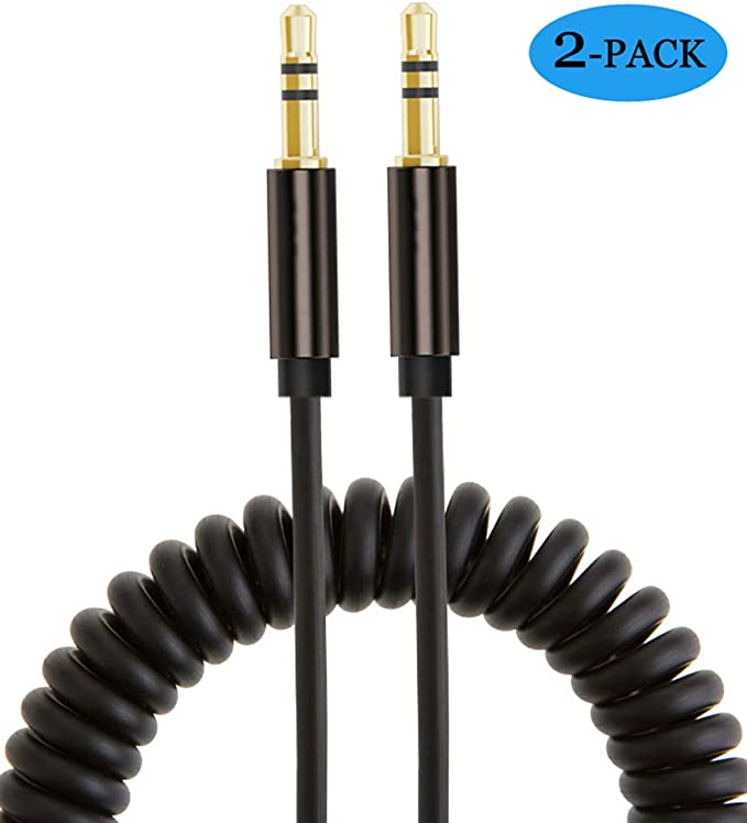 3.5mm Jack Male To Female Spring Aux Extension Cord Stereo Spiral Audio Cable
