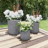 Pure Garden 50-LG1187 Fiber Clay Planters – Modern Decor Marbled Gray Cylinder Indoor or Outdoor Replanting Pots with Drainage Holes (Set of 3)