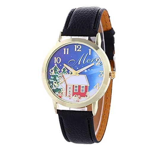 minilujia christmas tree santa claus snowflake design 40mm dial pu leather women watch black - Watch Black Christmas