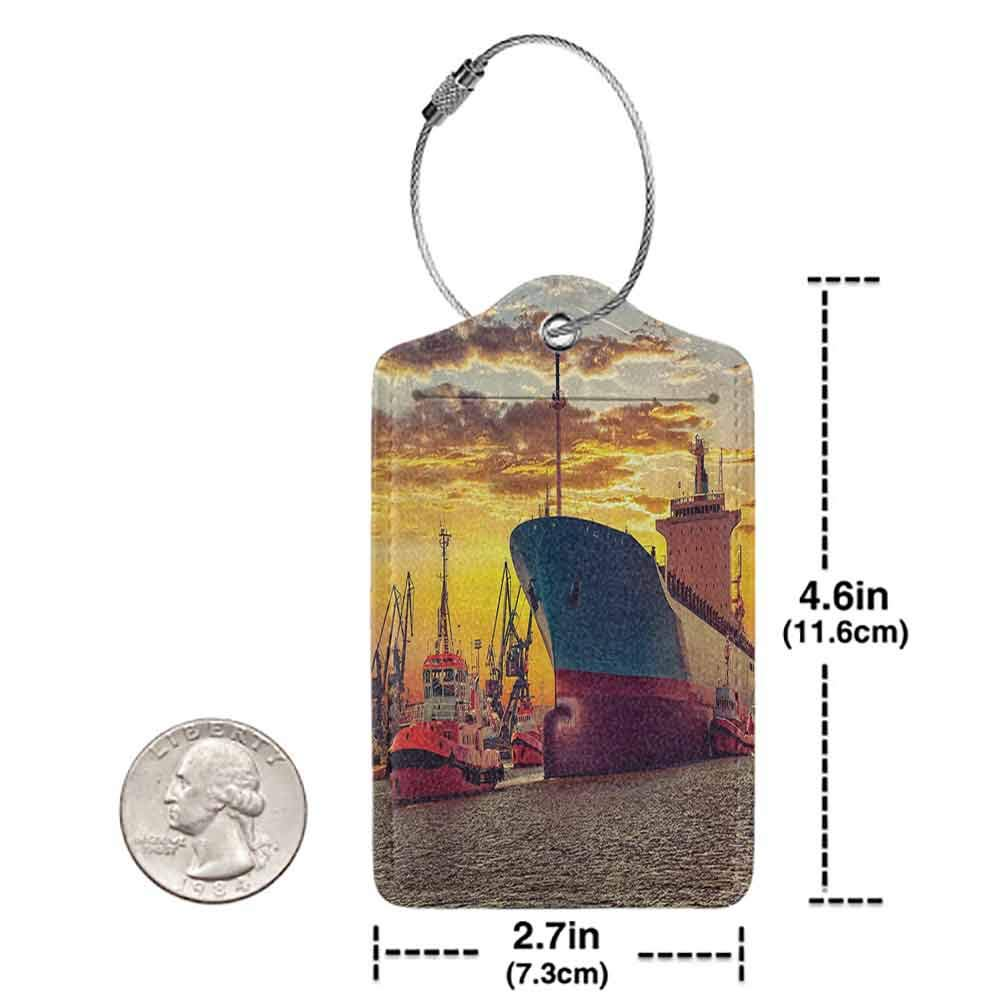 Personalized luggage tag Nautical Decor Giant Transportation Ship Escorting Tugs Leaving Port in City Water at Sunset Marine Photo Easy to carry Multi W2.7 x L4.6
