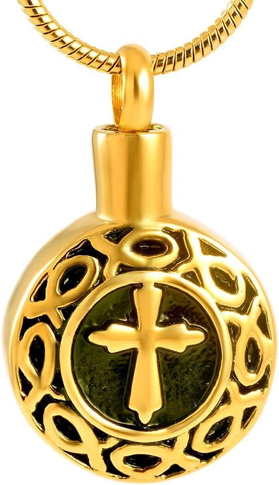 constantlife Cross on Heart Memorial Pendant Necklace Stainless Steel Cremation Urn Keepsake