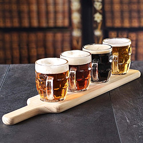 bar drinkstuff craft beer flight tasting set 5 piece set wooden