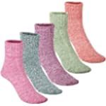 Womens Warm Thick Wool Socks - Knitting Vintage Style Winter Crew Socks Casual Cozy Soft 5 Pairs Size 5-10 (Multicolor (1))