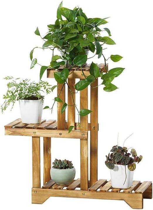 Soporte de Flores de Madera de 3 Capas, Exhibición de Macetas Grandes de Jardín Al Aire Libre, 6 Macetas de Soporte de Plantas Amarillas, Estante Multifunción: Amazon.es: Jardín
