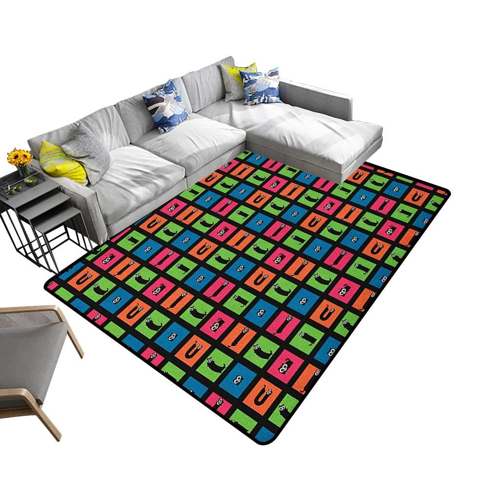 color09 78\ color09 78\ Cat Indoor Floor mat Black Feline Pattern with Checkered Geometric Squares colorful Squares Funny House Pets 78 x106 ,Can be Used for Floor Decoration