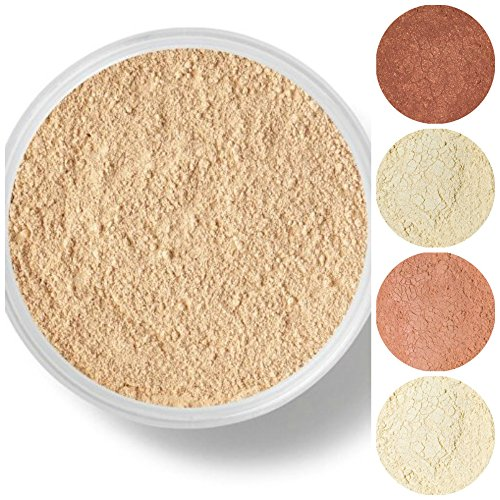 Sheer Natural Cover Minerals Makeup (STARTER SET Mineral Makeup Kit Bare Skin Sheer Powder Matte Foundation Veil (Warm (most popular)))