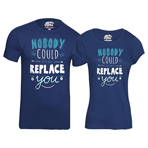 e08b9511e0 Bon Organik Cotton Nobody Can Replace You Printed Matching Couples  Valentines Day Tee (Blue,