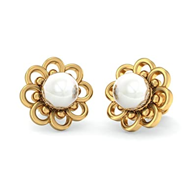 796f3aa6a Image Unavailable. Image not available for. Colour: BlueStone 18K Yellow  Gold Pearl Stud Earrings