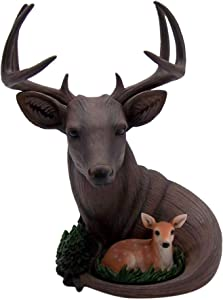 Wowser Brown Deer and Doe Figurine with Removable Antlers for Home Decor, Shelf, Office, Bedroom, 11.25 Inch
